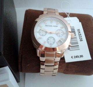 Michael Kors Mk5336 Rosegold Edelstahl Damenuhr Chronograph Box Und Bild