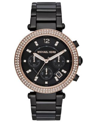 Michael Kors Uhren Mk5539 Chronograph Edelstahl Schwarze Gunmetal Uhr Uvp295 Bild
