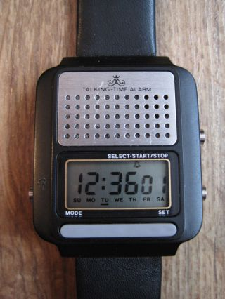 Vintage Meister Anker Talking Time Watch Sprechende Alarm Lcd Armbanduhr 80ties Bild
