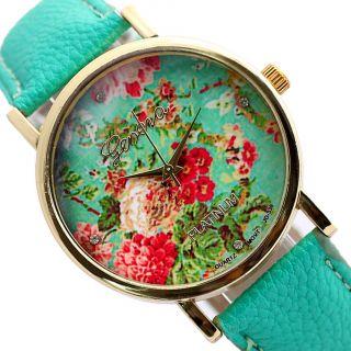 Mode Damen Genf Blumen - Gesichts - Art - Leder Analog Quarz - Armbanduhren Bild