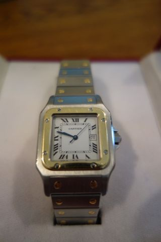 Cartier Santos - Stahl/gold,  Wenig Getragen,  Optisch Aufbereitet,  Große Ausführung Bild