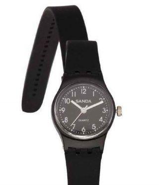 Damen Mädchen Jungen Silikon Wrap Wickel 2x Armbanduhr Armband Uhr Schwarz - Bild