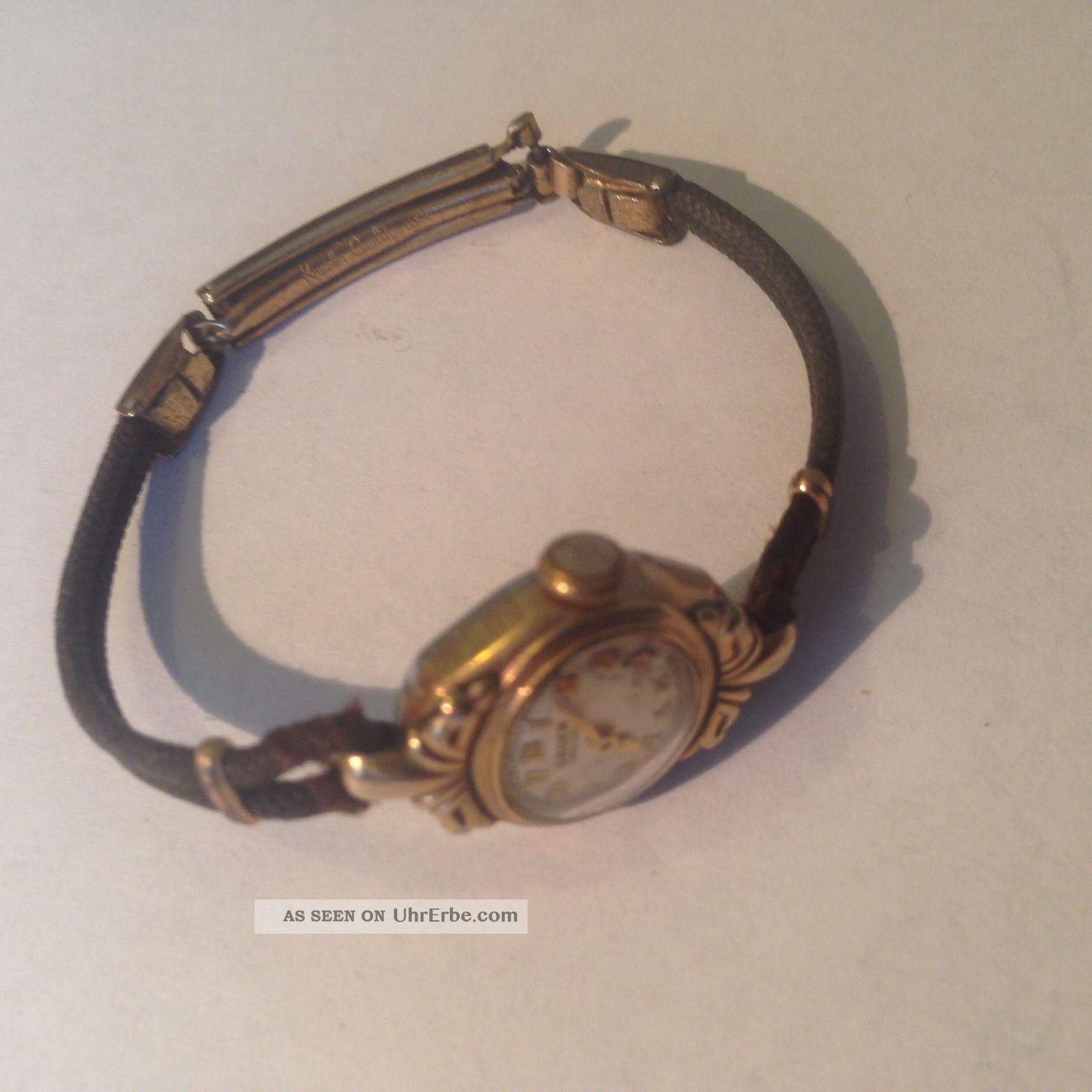 Schweizer Gruen Vero - Thin Art Deco Vintage 10k Gold Damenuhr 15 Jewels Um 1930 Armbanduhren Bild