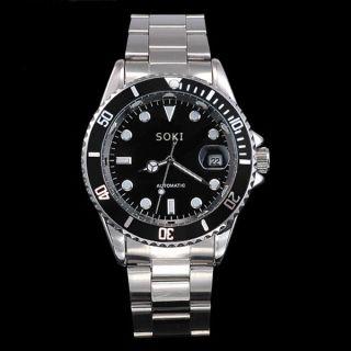 Soki Herren Schwarz Automatik Mechanische Datum Analog Edelstahl Armband Uhr Bild