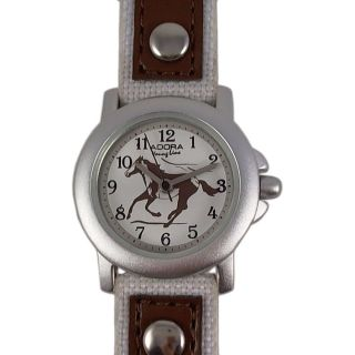 Kinderuhr Braun Weiss Pferd Lederarmband Nylon Armbanduhr Citizen Miyota Werk Bild