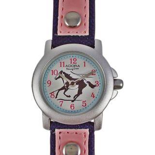 Kinderuhr Blau Pink Rosa Pferd Lederarmband Nylon Armbanduhr Citizen Miyota Werk Bild