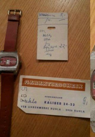 Ruhla Herren Digitaluhr 1982 Mit Papieren - RaritÄt Bild