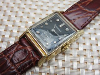 Vintage Longines Art Deco Uhr 14k 585 Gold,  Diamantenzifferblatt,  Ca 1947,  Läuft Bild