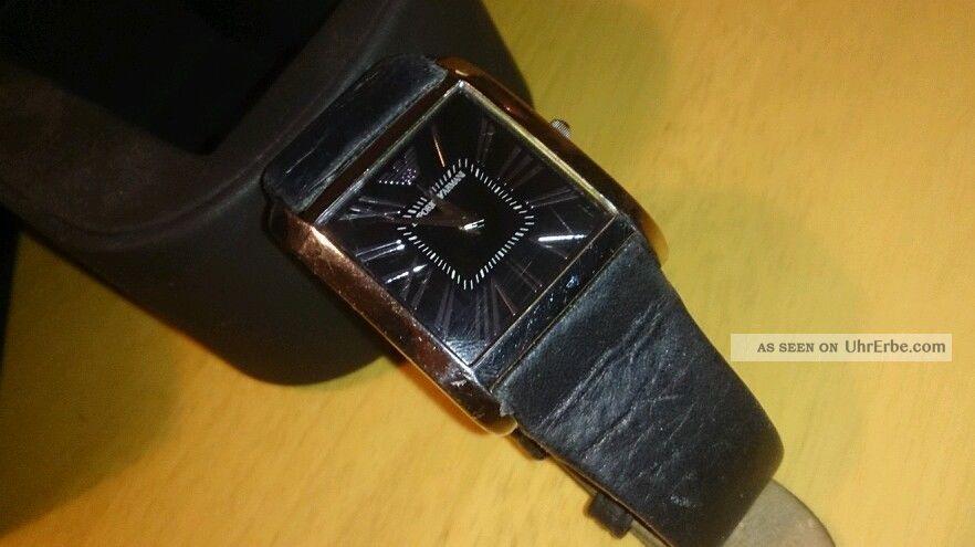 Damen Armani Uhr Schwarz Lederarmband (batterie Leer) Armbanduhren Bild