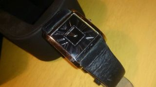 Damen Armani Uhr Schwarz Lederarmband (batterie Leer) Bild
