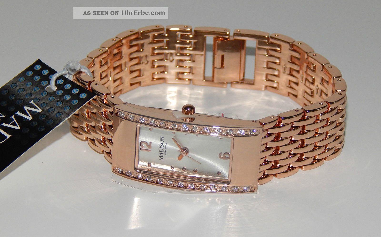 Edel -,  Madison Armbanduhr,  Rotgold / Kupfer Strass - Steinchen Wow Armbanduhren Bild