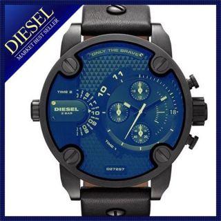 Diesel Schwarz Leder Band Chronograph Herren Uhr Herrenuhr Armbanduhr Dz7257 Bild