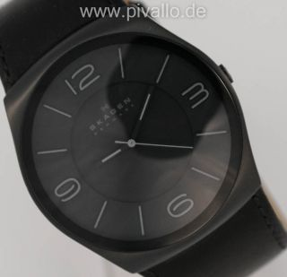 Skagen Herrenuhr / Herren Uhr Leder Schwarz Schlicht Skw6043 Bild