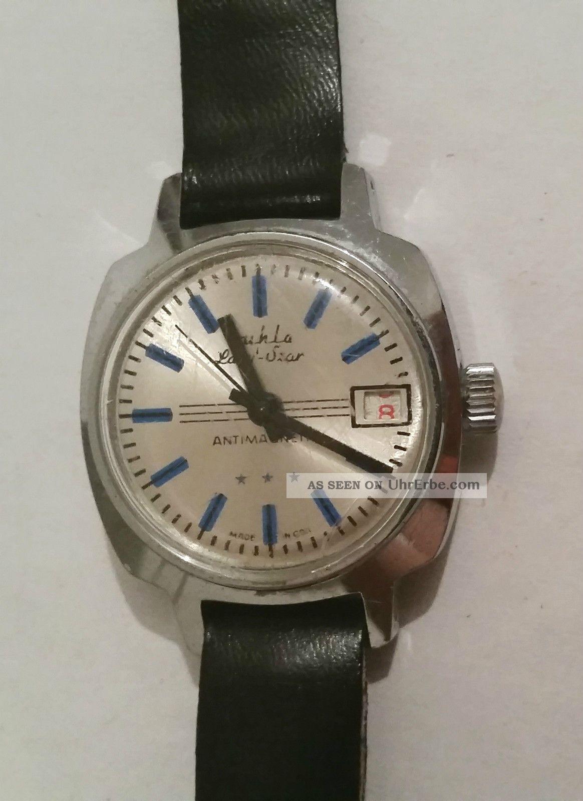 Ruhla Armbanduhr Datum Handaufzug Edelstahl Antimagnetic