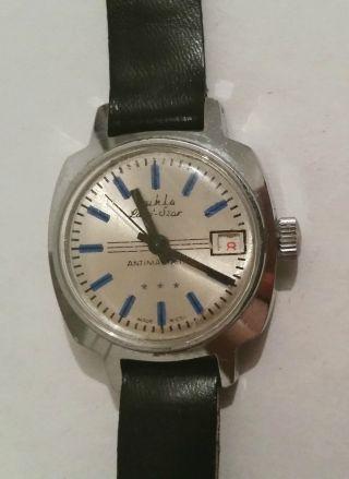 Ruhla Armbanduhr Datum Handaufzug Edelstahl Antimagnetic Lady Star Geprüft Vwp Bild
