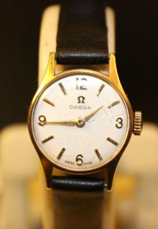 Omega Handaufzug Gold 585 Damen Uhr Bild