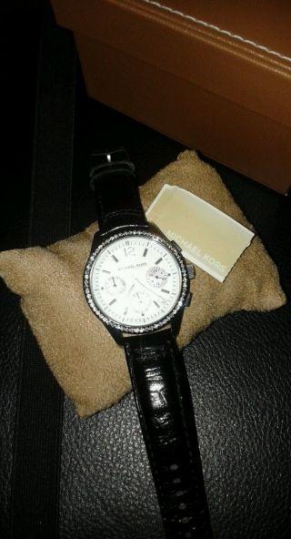 Wunderschöne Michael Kors Uhr Mk5016 Schwarzes Lederband Wie Bild