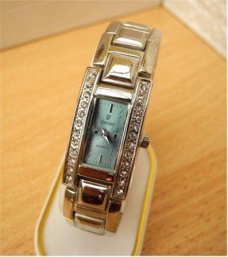 Damen Uhr Mit Aquamarine Farbenem Zifferblatt,  Steinen Sehr Schöne Armbanduhr Bild