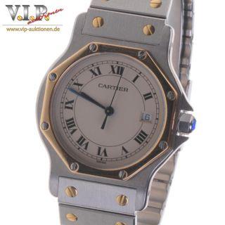 Cartier Santos Montre Ronde Uhr Herrenuhr Damenuhr Stahl / 18k Gold Unisex Watch Bild