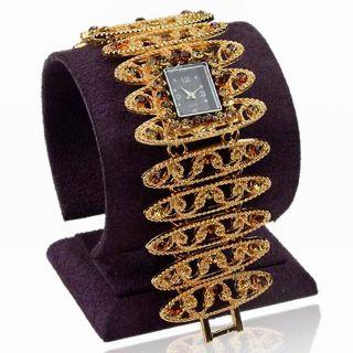 Gold Plated Topaz Kristall Link Armband Quartz Mode Wide Armbanduhren Watch Bild