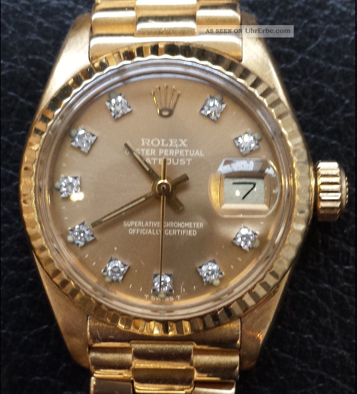 rolex lady datejust gelbgold 750 diamanten brillanten automatik damenuhr gold. Black Bedroom Furniture Sets. Home Design Ideas