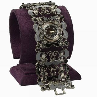 Vtg Schward Cz Strass Hollow Blume Link Mode Armband Quartz Armbanduhr Watch Bild