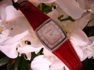 Skagen Damen Armbanduhr,  Superflach,  Superschön,  Rotes Lackleder/armband Bild