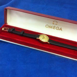 Vintage Omega Geneve Handaufzug Damen Armbanduhr,  Cal.  620,  Vergoldet Bild