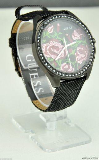Uhr Uhren Guess Armbanduhr Damen Schwarz Leder Flowery Quarz Deu Bild