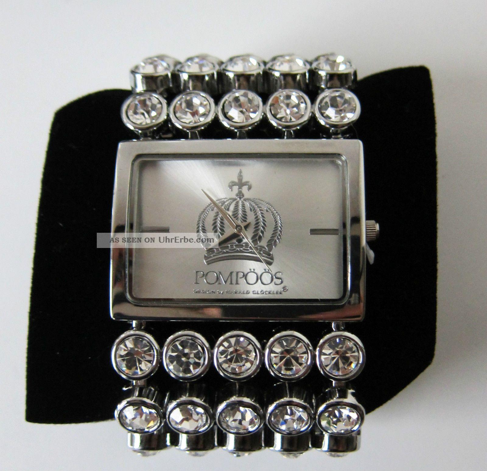 PompÖÖs Damenuhr Quarz Metallband 50 Kristalle Armbanduhren Bild