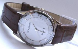 Armbanduhr Goldtime Quarz Herrenuhr Uhr Lederarmband Weihnachten Bild