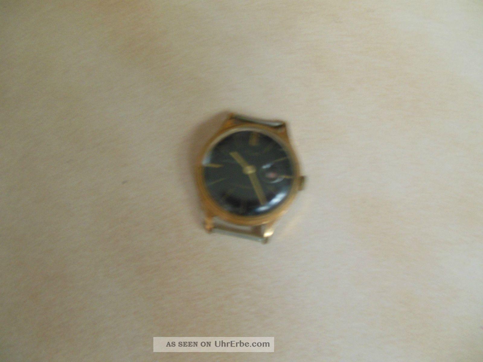 herrenuhr alt schwarzes zifferblatt goldfarbener geh userand ohne armband. Black Bedroom Furniture Sets. Home Design Ideas