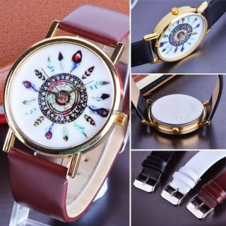 Mode Uhr Armbanduhr Watch Kompass Leder Damen Quarz Uhren Armreif Geschenk Bild