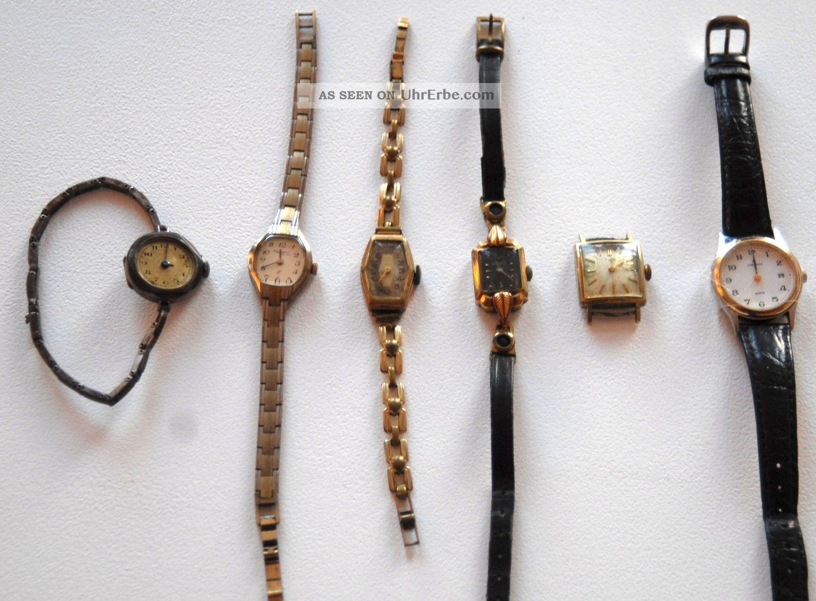 Konvolut 6 Uhren Armbanduhren An Bastler Ca.  40 - 100 Jahre,  Junghans,  Provita Armbanduhren Bild