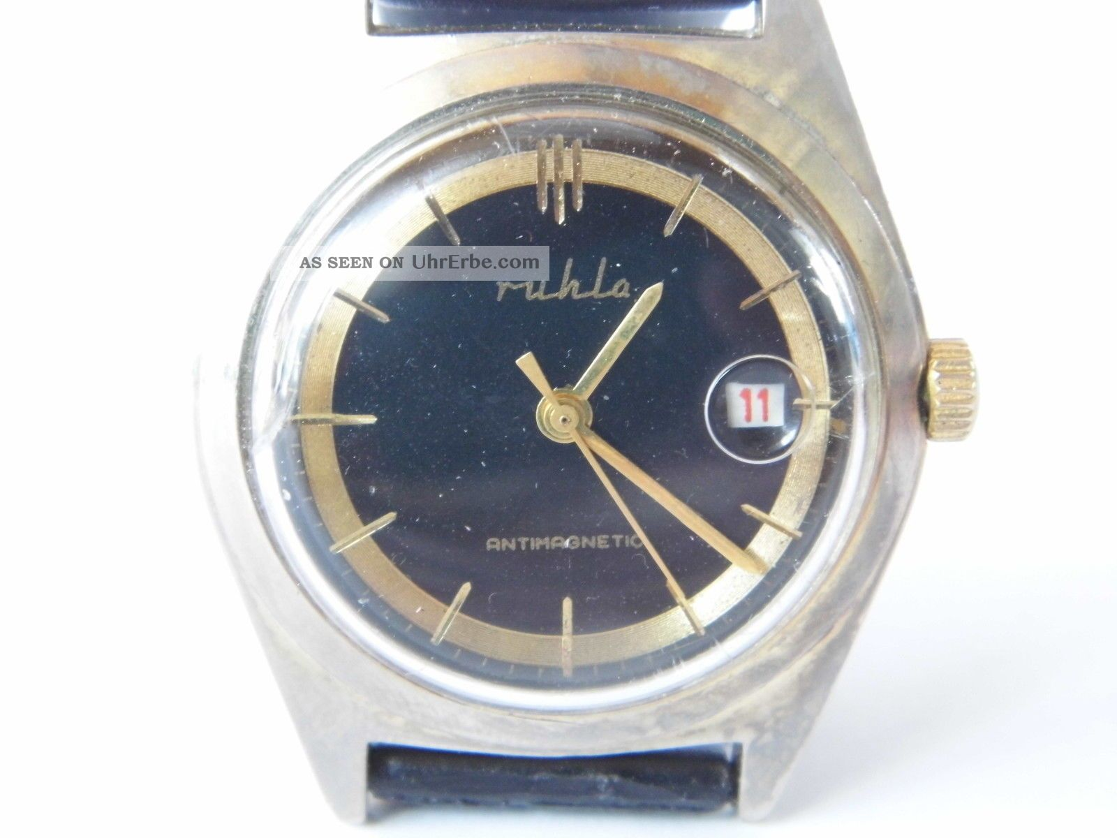 Herrenuhr Ruhla Date Handaufzug,  Edelstahl,  Läuft Nicht Richtig Armbanduhren Bild