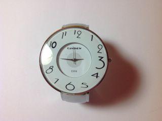 Damen Spangenuhr Armbanduhr Silber Mit Weißem Zifferblatt Bild