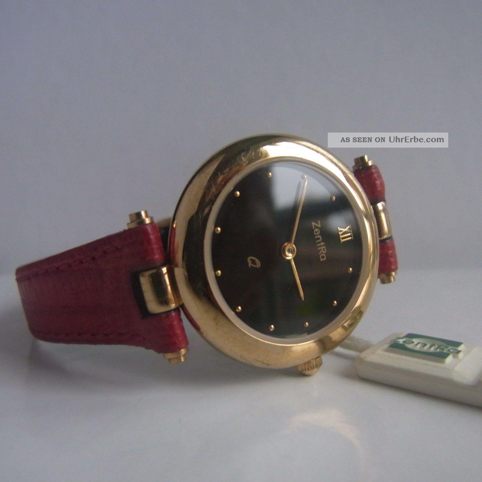 art deco markenuhr zentra uhr rotes leder armband armbanduhr damen damenuhr. Black Bedroom Furniture Sets. Home Design Ideas