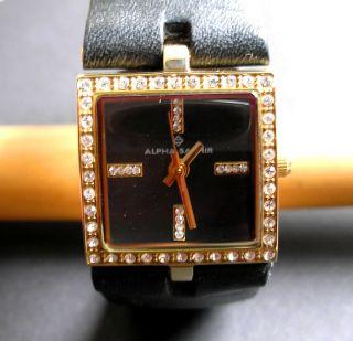 Alpha Saphir Damenuhr 337 C Armbanduhr Uhr Lederarmband Schwarz Bild