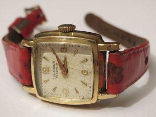 Traumschöne Edle Antike Junghans Damenuhr Handaufzug 15 Steine 50er Jahre Karee Bild