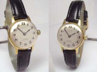 Anker Goldene Vintage Damenuhr Mit Neuem Armband Hb 80 Handaufzug Sammlerstück Bild