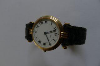 Cartier Damenuhr Gold Lederarmband Faltschließe Schwarz Bild