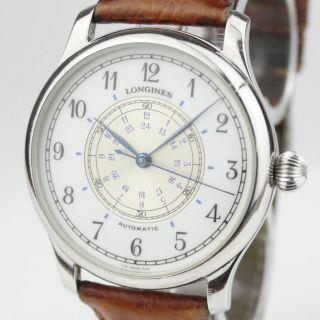 Longines Navigation Lindbergh Automatic Armbanduhr Uhr Analog Leder Swiss Made Bild