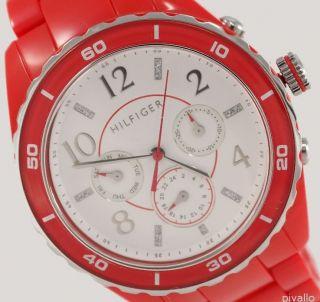 Tommy Hilfiger Damenuhr / Damen Uhr Kunststoff Datum Tag Rot Strass 1781094 Bild