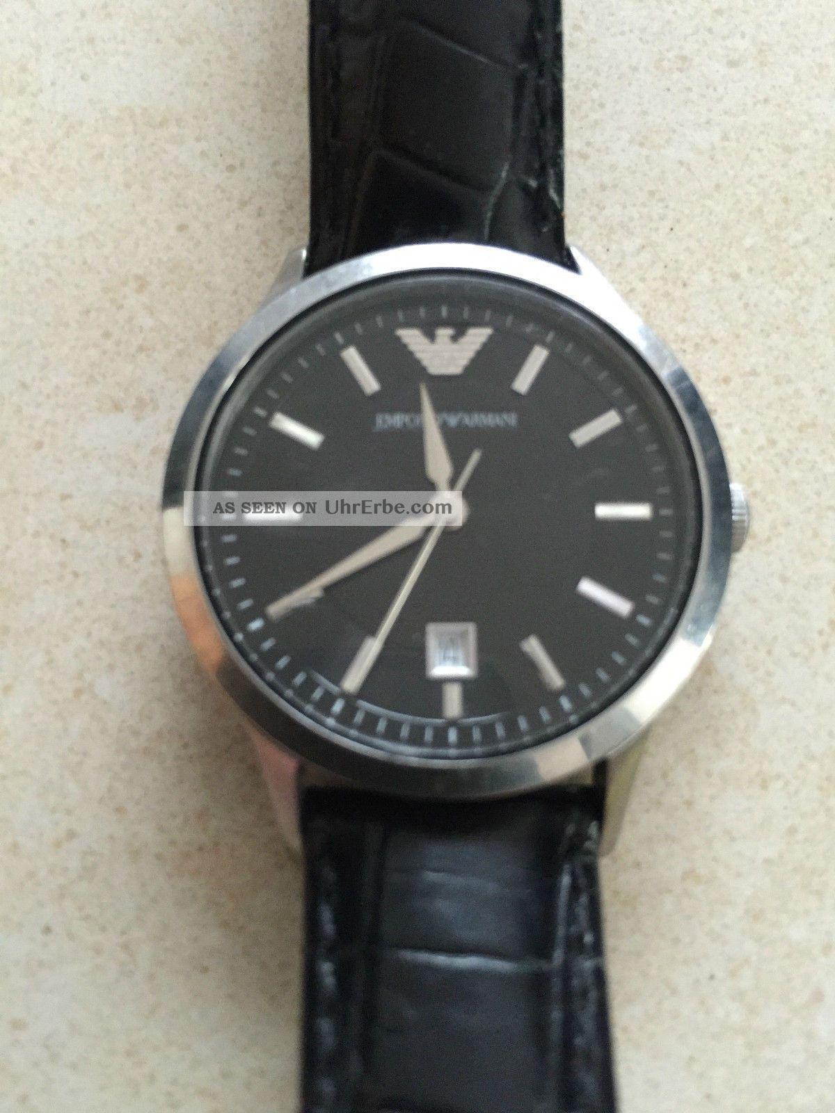 emporio armani damen uhr armbanduhr leder schwarz ar 2412. Black Bedroom Furniture Sets. Home Design Ideas