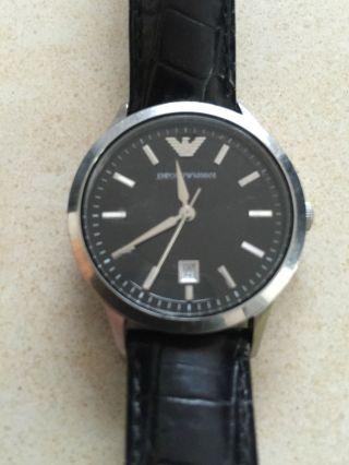 Emporio Armani Damen Uhr Armbanduhr Leder Schwarz Ar 2412 Bild