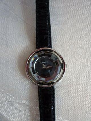 Jowissa Damenuhr Armbanduhr Quarz RaritÄt Edel Extra Flach Facett Lederarmband Bild