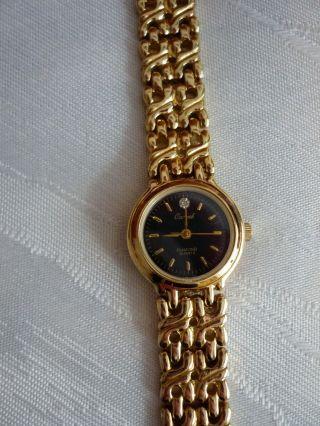 Damenuhr Armbanduhr Quarz Stainlass Elegant Vergoldet Goldfarbig Sehr Hübsch Bild