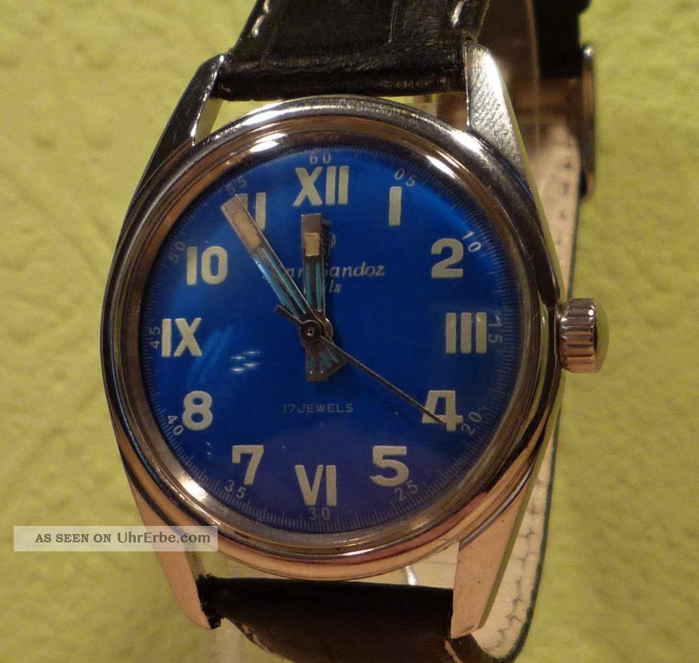 Sammlerzustand Henri Sandoz & Fils,  Military - Style,  Ca.  1965,  Sehr Selten Armbanduhren Bild