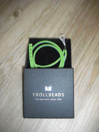 Trollbeads Leder - Armband U.  Verschluß Mit Spitzen.  Grün.  Ungetragen Bild