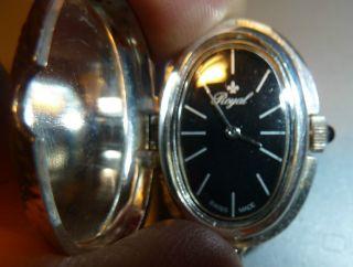 Royal - Damen - Halsketten - Uhr - Schwarzes Ziffernblatt,  - Made Swiss Bild